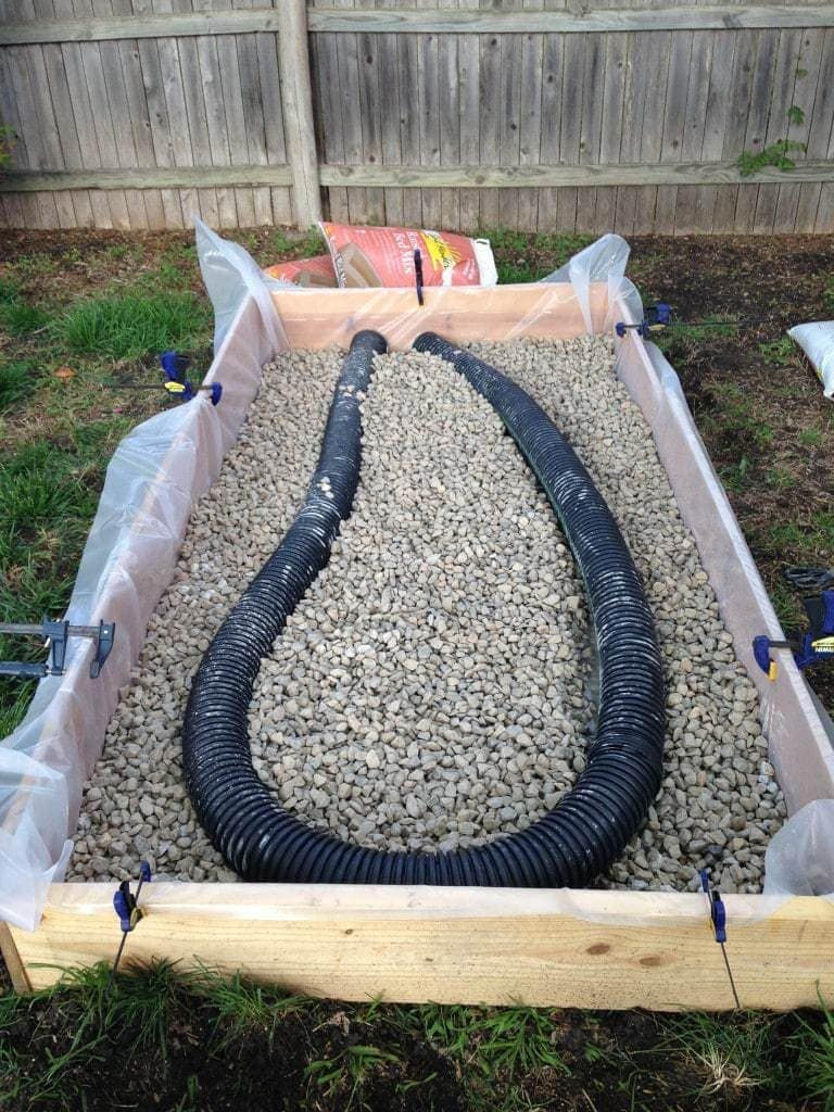 Wicking Bed with Rocks and Pipe Added and Soil in the Background