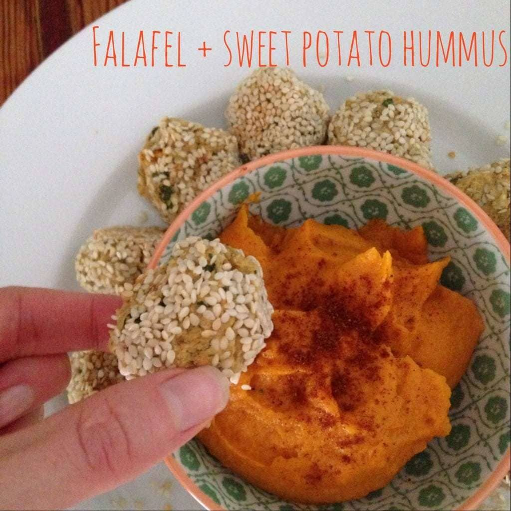 Falafel and Sweet Potato Hummus Plated
