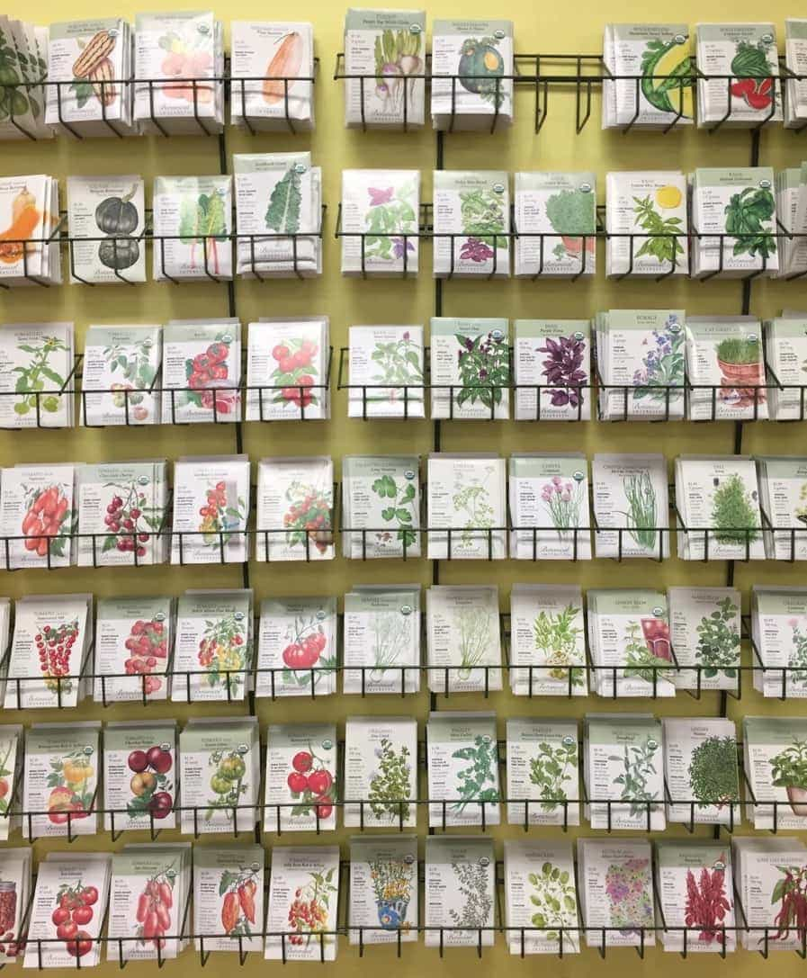 Wall of Seed Packets to Purchase