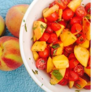 Tomato Peach Basil Salad in Bowl