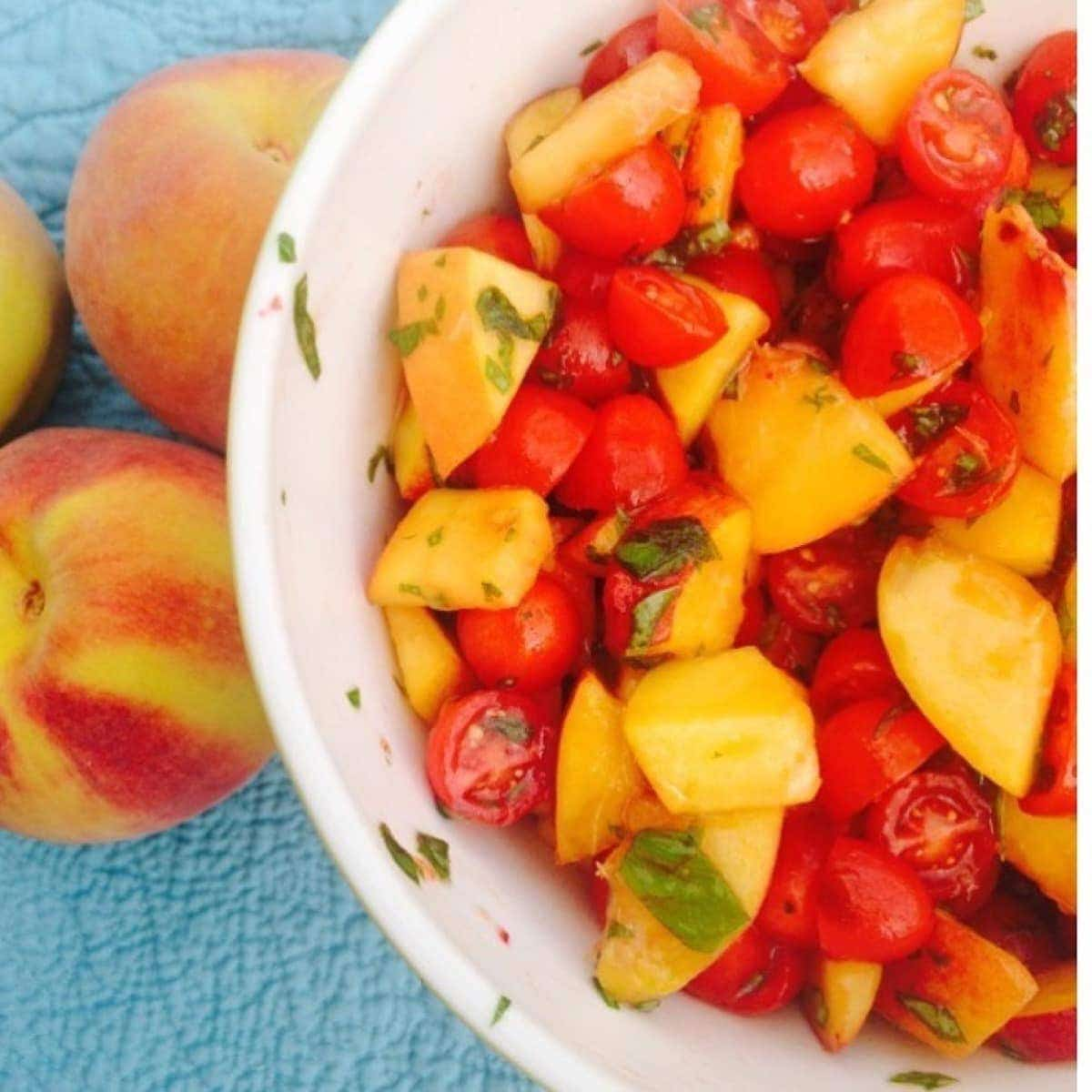 tomatoes in a delicious, fresh-tasting tomato-basil-peach salad ...