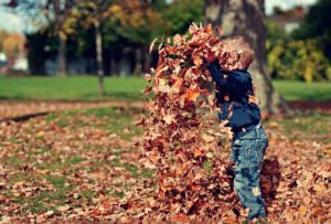 child tossing leaves