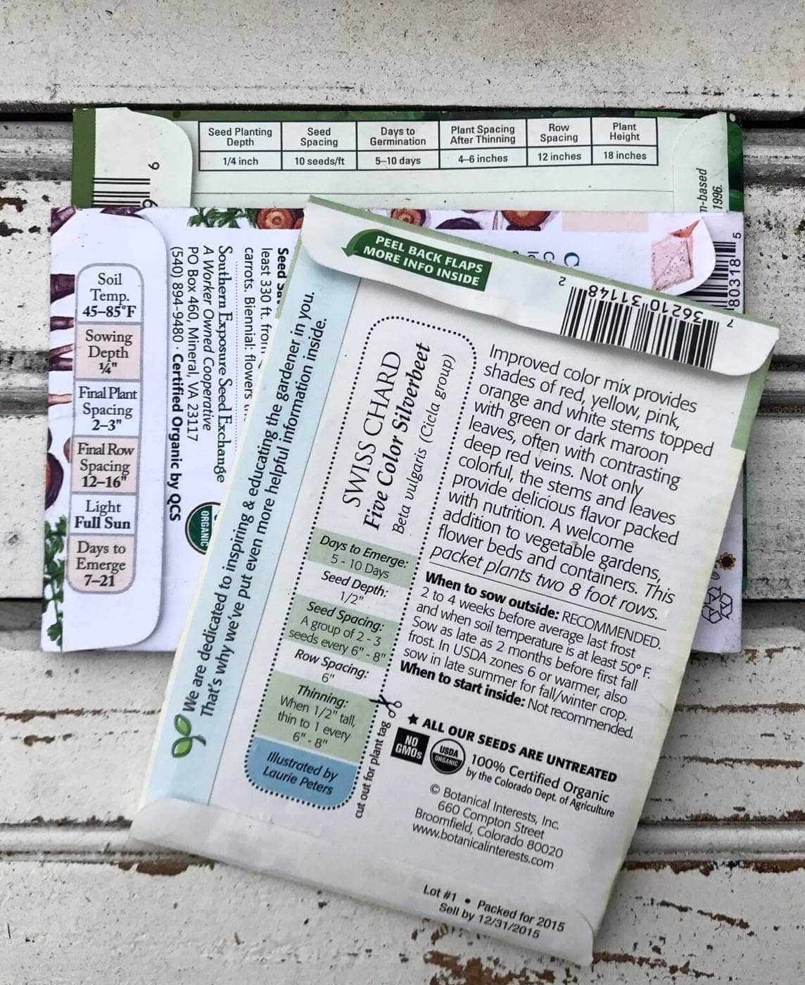 Back of Swiss Chard Seed Packet