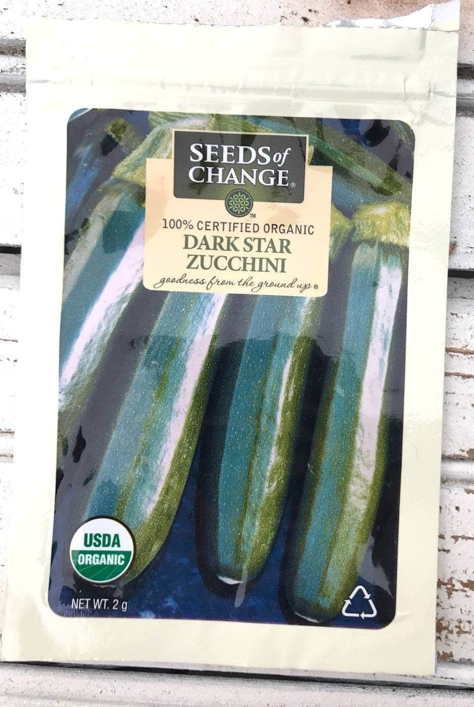 Front of Dark Star Zucchini Seed Packet