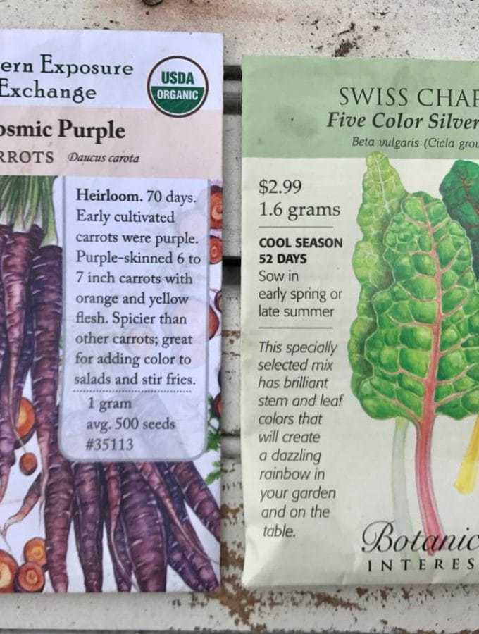 Carrot and Swiss Chard Seed Packets