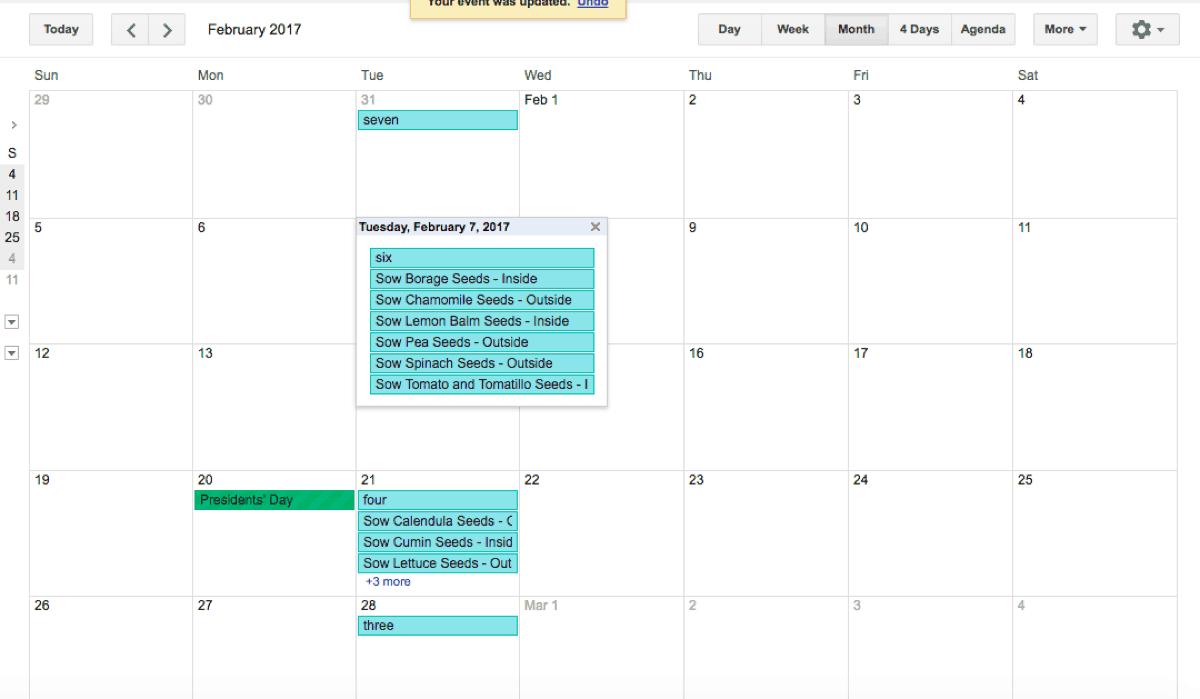 Garden Planning Calendar