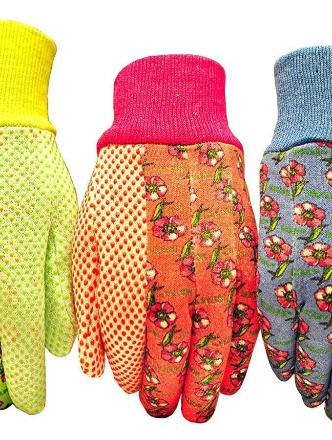 3-pack tricolored garden gloves